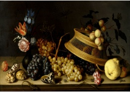 DDSO-4492 Balthasar van der Ast - Zátiší s hroznovým vínem a květinami