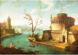 DDSO-3178 Antonio Joli - Italská říční krajina s postavami