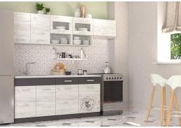 MORENO III, kuchyně 240cm, dub kraft bílý / grafit
