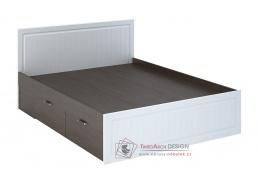 PRAGA KP-902, postel se 4-mi zásuvkami 140x200cm, wenge / bílá