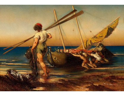 Slavné obrazy XVI-207 Anton Romako - Neapolští rybáři