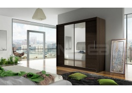 BEGGA II, šatní skříň s posuvnými dveřmi 180cm, čokoláda / zrcadla