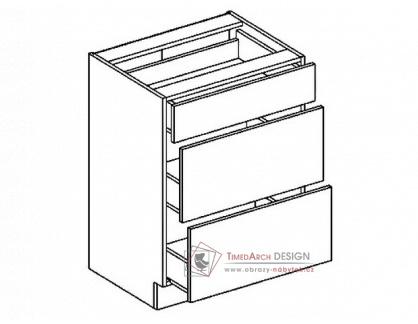 Dolní skříňka se zásuvkami D60S3 PREMIUM de LUX hruška