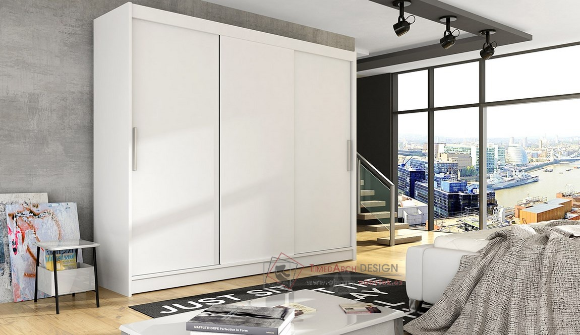 Šatní skříň s posuvnými dveřmi 250cm ASTON II bílá