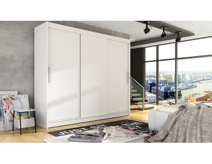 ASTON II, šatní skříň s posuvnými dveřmi 250cm, bílá