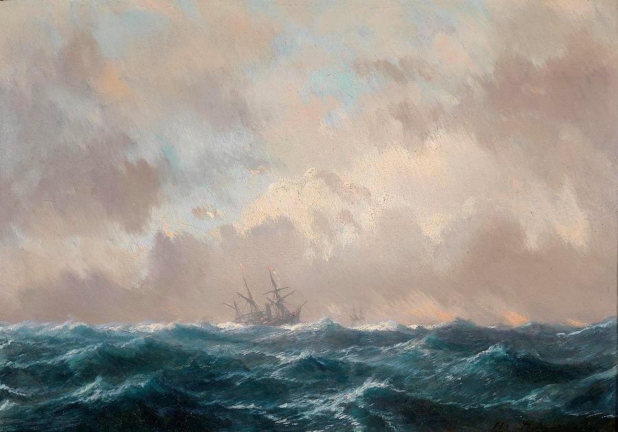 Krásné obrazy IV-101 Jean-Baptiste Henri Durand-Brager - Loď na volném moři