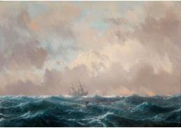 Krásné obrazy IV-101 Henri Durand-Brager - Loď na volném moři