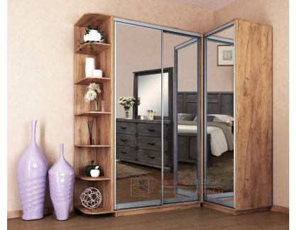 LEVANTO, šatní skříň rohová s posuvnými dveřmi 180x120cm, dub kraft zlatý / zrcadla