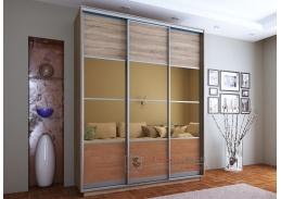 SUNNY, šatní skříň s posuvnými dveřmi 200cm, dub sonoma / olše / zrcadla
