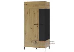 LUCAS 70, šatní skříň 2-dveřová, dub artisan / černá