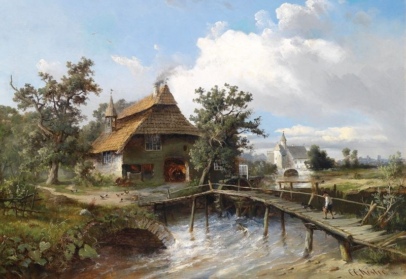 Slavné obrazy XIII-100 Carl Georg Köster - Lávka přes potok