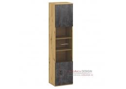 ERIDAN A, vitrína, dub artisan / šedý beton