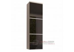 MASON, koupelnová skříňka vysoká, bílá / černý lesk