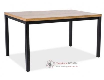 NORMANO 180x90, jídelní stůl, černá / MDF dub