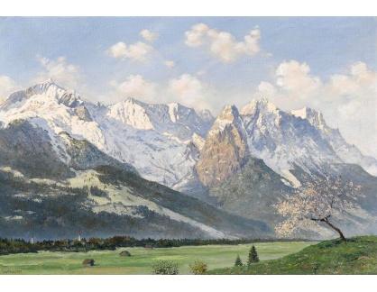 Slavné obrazy XIII-458 Walter Thamm - Kvetoucí ovocné stromy ve Wettersteingebirge