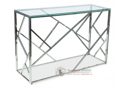 ESCADA C, konzolový stolek 120x40x78cm, chrom / čiré sklo