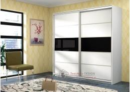 DUBAJ, šatní skříň 220cm, bílá / černé sklo