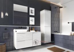 NARAN, koupelnová sestava nábytku, bílá / bílý lesk vzor