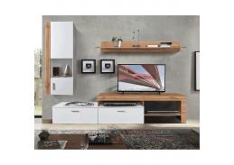ALUBA, obývací stěna, dub wotan / bílá