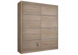 Skříň MERINA 150cm s posuvnými dveřmi dub sonoma / šedá