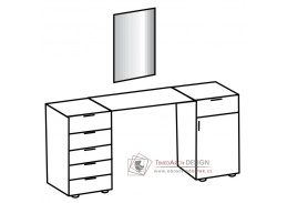 PAMELA 310, toaletní stolek se zrcadlem, řezaný dub