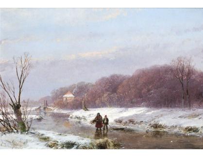 Slavné obrazy XVI-172 Andreas Schelfhout - Zimní krajina se sběrači dřeva na ledě