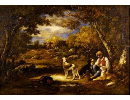 Krásné obrazy IV-3 Narcisse Virgilio Diaz de la Peňa - Chlapec s jeho psy v lese