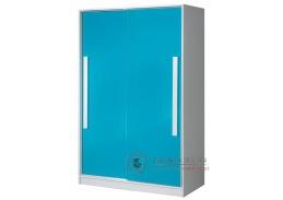 Šatní skříň s posuvnými dveřmi 120cm GULLIWER 12 bílá / tyrkysový lesk / bílá