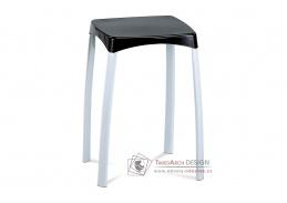 83668-03 BK, taburet, bílá / černý plast