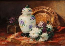 Krásné obrazy I-104 Eugene Henri Cauchois - Zátiší s chrysantemami