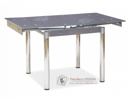 GD-082, jídelní stůl rozkládací, chrom / šedé sklo