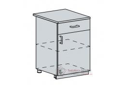 GREECE, dolní skříňka 1-dveřová se zásuvkou 60D1D1S, bílá / bílý lesk
