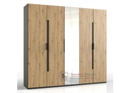 KOLOMAN 528, šatní skříň 5-ti dveřová 250cm, grafit / dub artisan