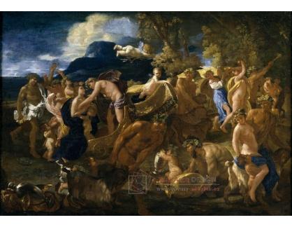 VF118 Nicolas Poussin - Bacchanal, Bacchus a Ariadna