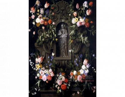 VH627 Daniel Seghers a Thomas Willeboirts Bosschaert - Věnec květin se soškou Panny Marie
