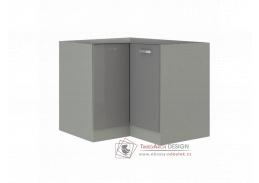 Dolní skříňka rohová PRADO 90/90 DN BB šedá / vysoký lesk šedý