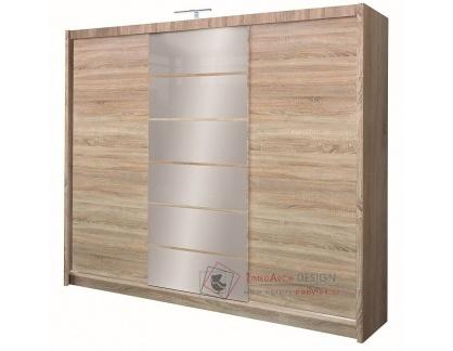 MALIBU, šatní skříň s posuvnými dveřmi 250cm, dub sonoma / zrcadla