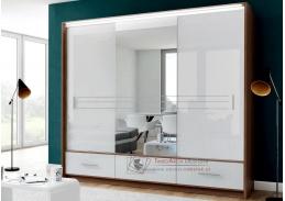 AMSTERDAM, šatní skříň s posuvnými dveřmi 250cm, ořech / bílé sklo / zrcadlo