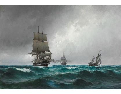 Slavné obrazy XVI-365 Carl Locher - Klidný večer v Severním moři s fregatou Jylland
