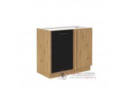 MONROVIA, dolní skříňka rohová 105 ND 1FFBB, dub artisan / černý mat