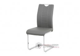 DCL-411 GREY, jídelní židle, chrom / ekokůže šedá