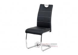 HC-481 BK, jídelní židle, chrom / ekokůže černá