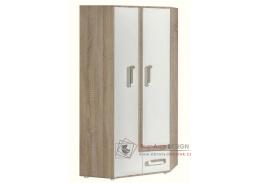 APETTITA 02, šatní rohová skříň, dub jasný / bílá