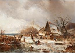 D-9239 Adolf Stademann - Říční krajina v zimě s domem