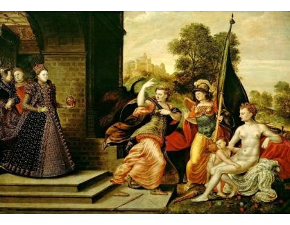 VANG236 Hans Eworth - Alegorická prezentace Elizabeth s bohyněmi Juno, Athénou a Venuší