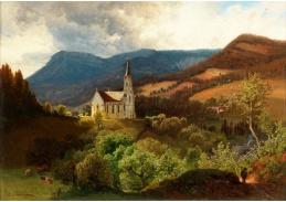 Slavné obrazy II-DDSO-459 Anton Hlavacek - Kostel v horách