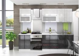 VALERIA, kuchyně 220cm, bílá / černá rain / stříbrná rain
