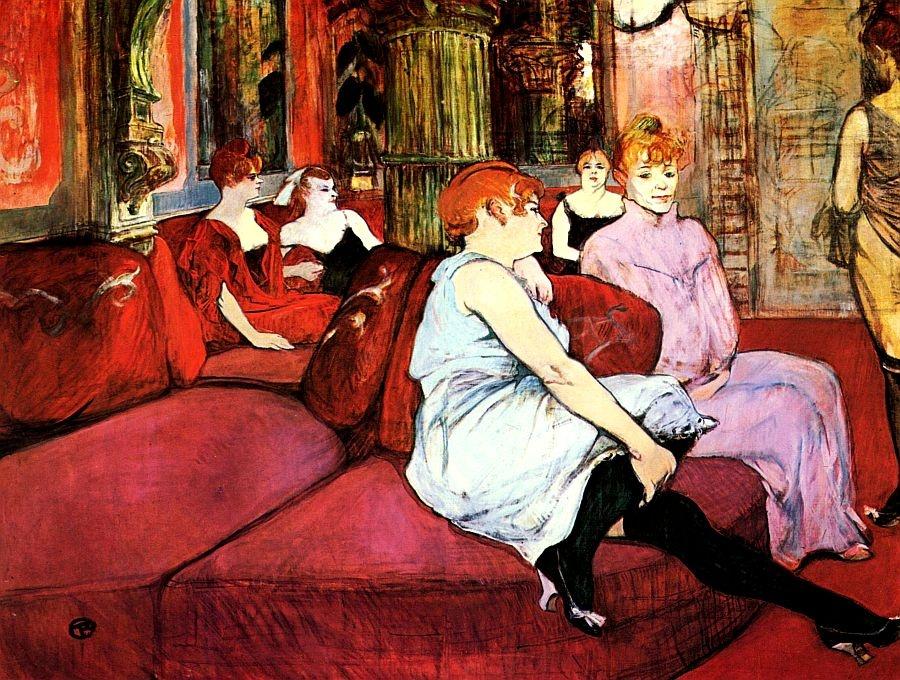 R7-10 Henri Toulose-Lautrec - V salónu na Rue des Moulins
