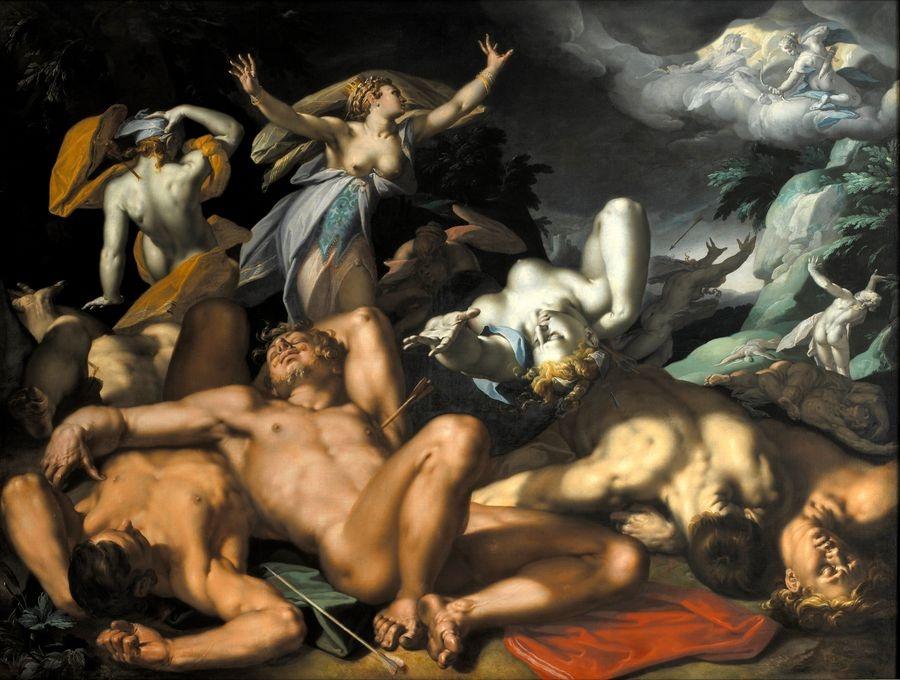 Krásné obrazy III-1 Abraham Bloemaert - Apollo a Diana trestající Niobe