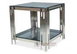 FOSSIL B, konferenční stolek 55x55x55cm, chrom / kouřové sklo